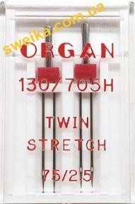 Голка ORGAN 130/705H Супер Стрейч подвійна №75/2.5